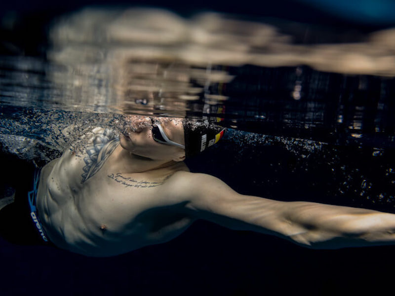 Underwater shot of a freestyle hand entry