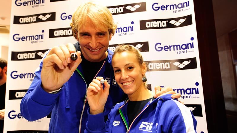 Rosolino e Cagnotto al Germani Sport di Milano con Arena