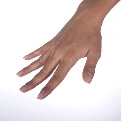 Freestyle hand entry: Step 2, fingers spread out