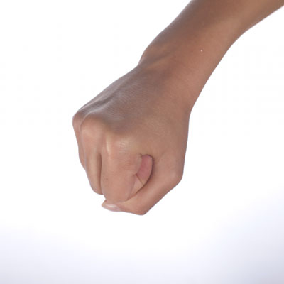 Freestyle hand entry: Step 1, closed fist