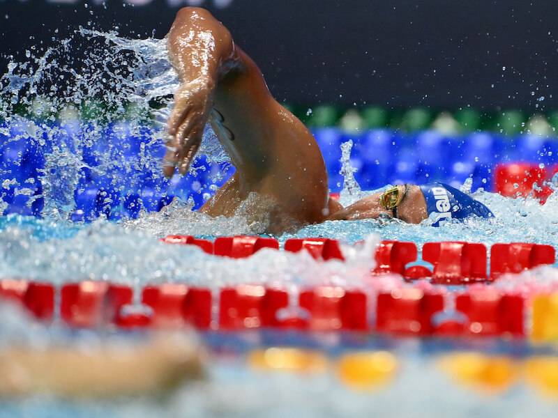 Freestyle pull: swimmer doing the freestyle stroke in a pool