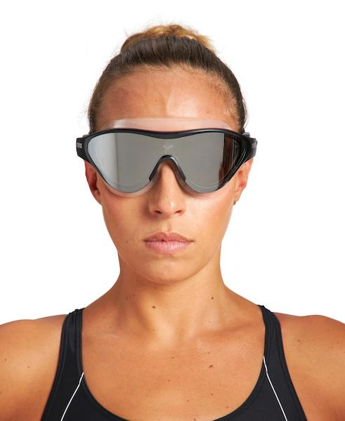 Woman wearing tinted triathlon goggles